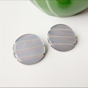 Jewelry - big Milky Way iridescent pearly circle studs